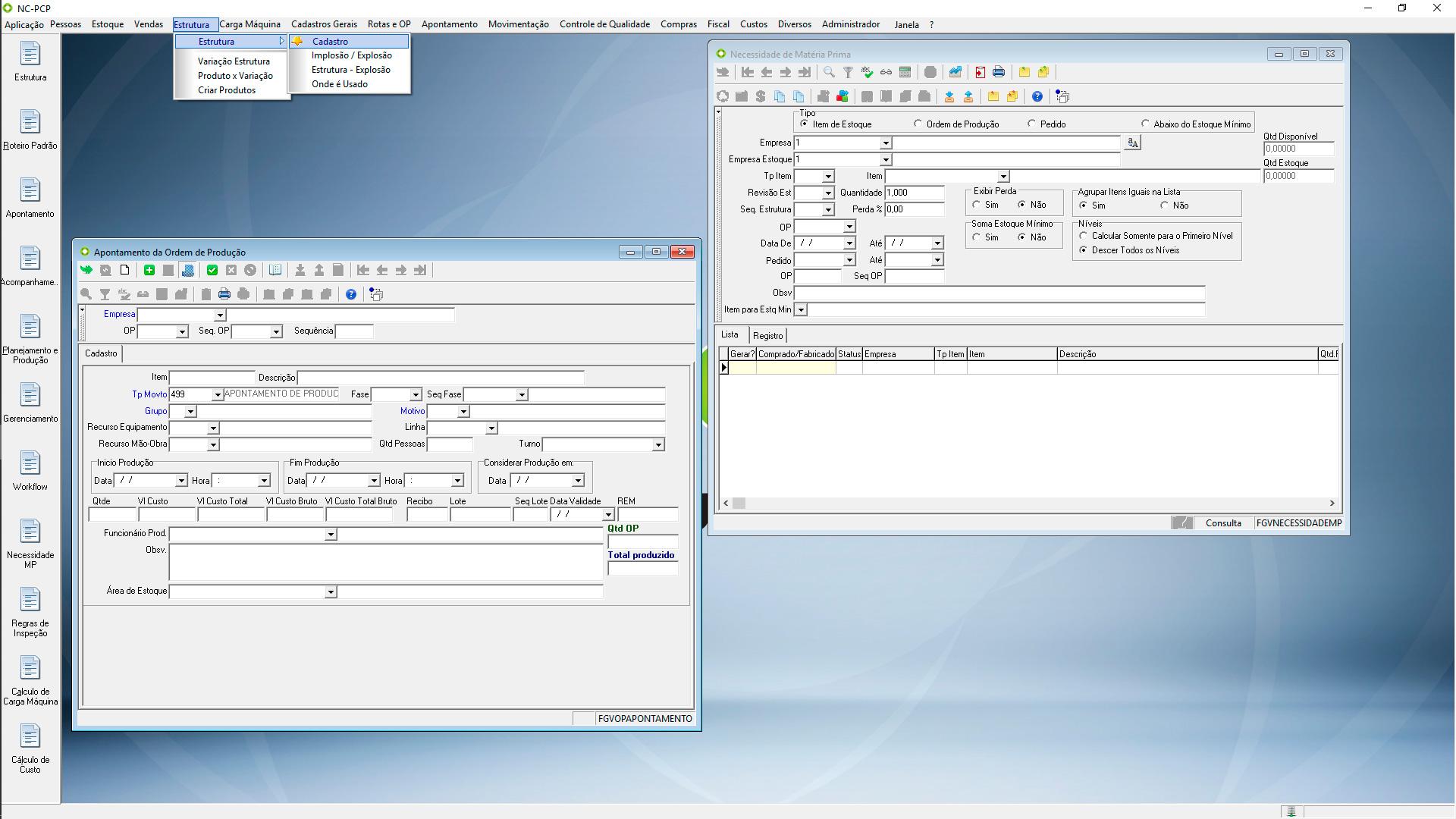 Telas do PCP - Sistema de Gestão ERP New Century